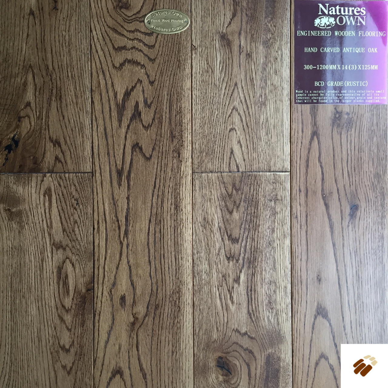 NATURES OWN: Antique Oak Hand Carved & UV Lacquered (14/3 x 125mm)-0