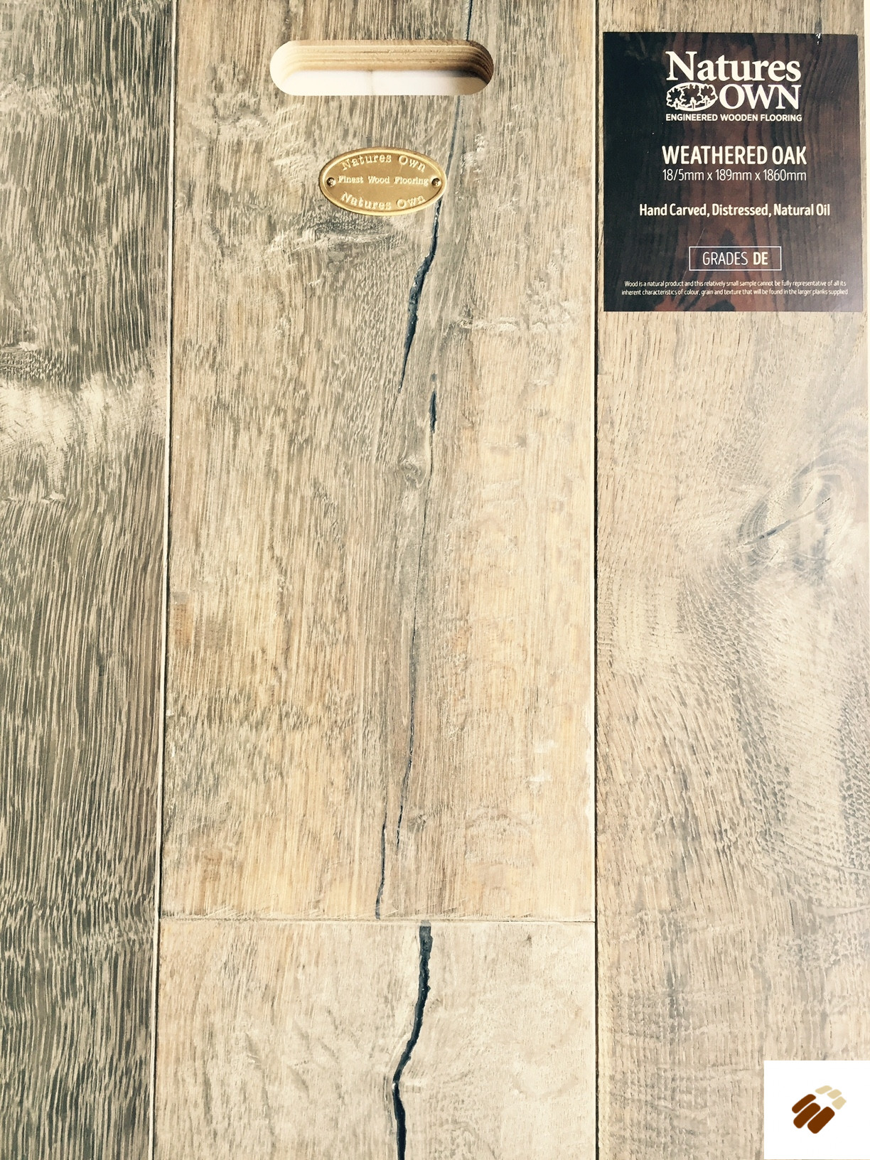 NATURES OWN: Weathered Oak Hand Carved, Distressed & Natural Oiled (18/5 x 189mm)-0